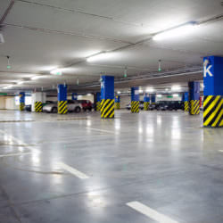 Parking garage of shopping center, underground interior